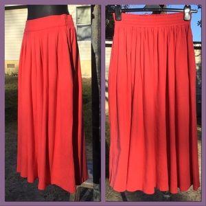 Vtg Orange Full Skirt, sz S